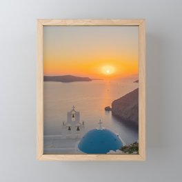 Three Bells Santorini Framed Mini Art Print