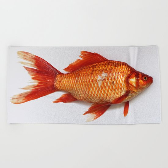 Red Gold Fish Beach Towel
