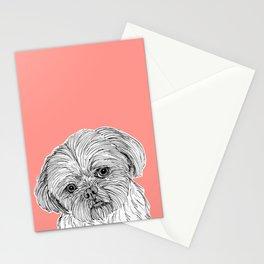 Shih Tzu Dog Portrait ( coral background ) Stationery Cards