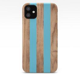 Striped Wood Grain Design - Light Blue #807 iPhone Case