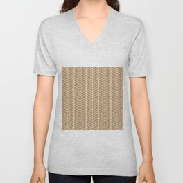 Chevron Light Brown Unisex V-Neck