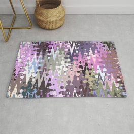 Violet shades icicles, abstract geometric jagged shapes, sharp forms Rug
