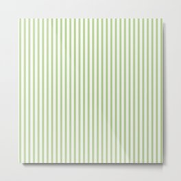 Color of the Year 2017 Greenery and White Mattress Ticking Stripes Metal Print