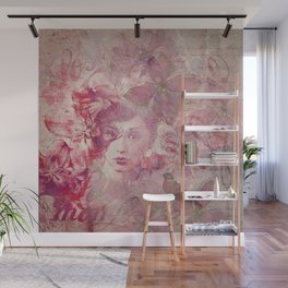 Lost Moments Woman Nostalgic Portrait In Shades Of Red Wall Mural