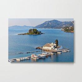 Panagia Vlacherna and mouse island at Corfu, Greece Metal Print