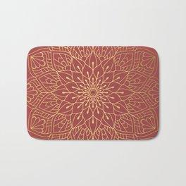 Gold Mandala Pattern On Cherry Red Bath Mat