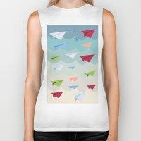 planes Biker Tanks featuring Paper Planes by irayflo