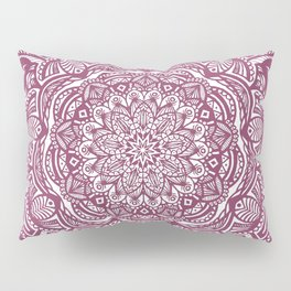 Wine Maroon Ethnic Detailed Textured Mandala Pillow Sham