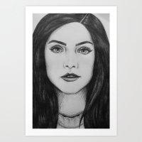 jenna kutcher Art Prints featuring Jenna Coleman biro portrait by Eleanor Dapre