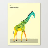 toddler Canvas Prints featuring G is for Giralephant by Jazzberry Blue