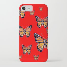 RED ART MONARCH BUTTERFLIES iPhone Case