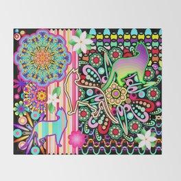 Mandalas, Cats & Flowers Fantasy Pattern Throw Blanket