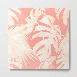 Tropical Coral Pink Palm Leaf Pattern Metal Print