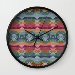 Mauve and Indigo Southwestern Tribal Boho Wall Clock