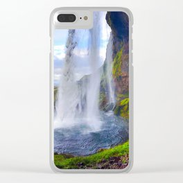 Behind Seljalandsfoss Waterfall in Iceland (1) Clear iPhone Case