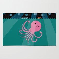 Octopus Selfie at Night Rug