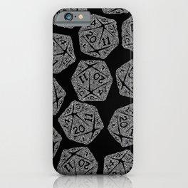d20 - white on black - icosahedron doodle pattern iPhone Case