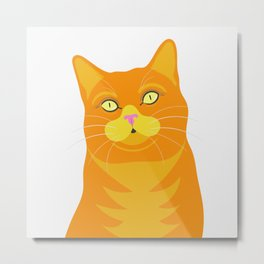 Ginger Cat Portrait Illustration Metal Print