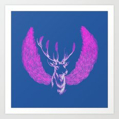 Winged Pink Deer Art Print