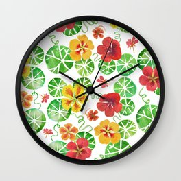 Watercolor Nasturtiums Wall Clock