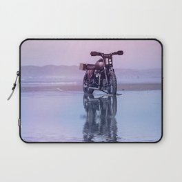 Where the Journey  begins Motorcycle at the Water Sunset Laptop Sleeve