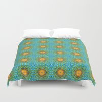 yellow pattern Duvet Covers featuring Yellow Salsify Flower Pattern by Peter Gross