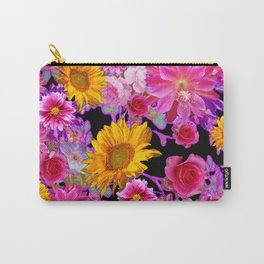 BLACK FLORAL TAPESTRY OF ASSORTED FLOWERS Carry-All Pouch