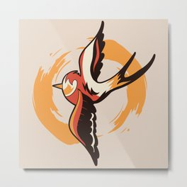 Old School Swallow Tattoo  Metal Print