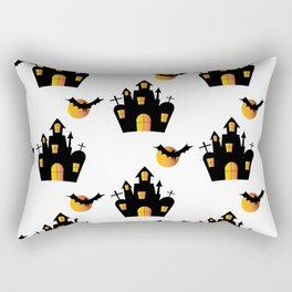 Haunted House and Full Moon Bats Rectangular Pillow