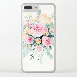 Pink Peonies and Rose Watercolor Clear iPhone Case