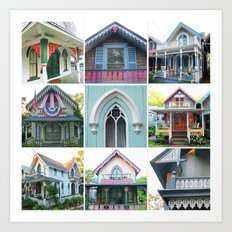 Pretty Cottages all in a Row Art Print
