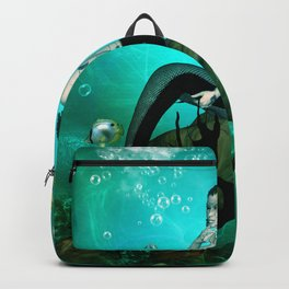 Wonderful dark mermaid in the deep ocean Backpack