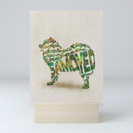 Samoyed Dog Typography Art / Watercolor Painting Mini Art Print