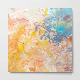 Austere Conflict Abstracted   Red, orange & Blue Metal Print