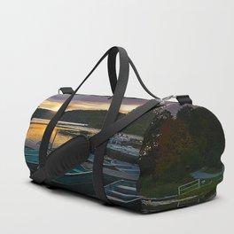 Stunning Lake Front Marina Sunset Duffle Bag