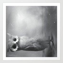 Owl Sideways  Art Print