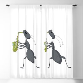 Cute ant playing saxophone Blackout Curtain