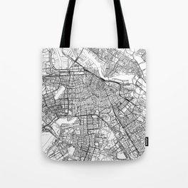 Amsterdam White Map Tote Bag