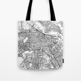 Amsterdam White Map Tote Bag