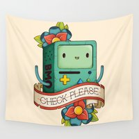 bmo Wall Tapestries featuring BMO | CHECK PLEASE by Daniel Mackey