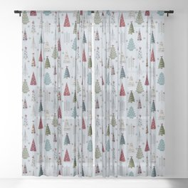 Scandinavian Christmas Trees Pattern - Blue Red Green Sheer Curtain