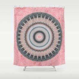 Pastel Pink Rose Textured Mandala Shower Curtain