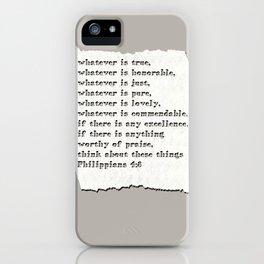 Philippians 4:8 iPhone Case