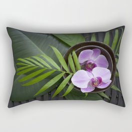 Zen Style Pink Orchids And Palm Leaf Rectangular Pillow
