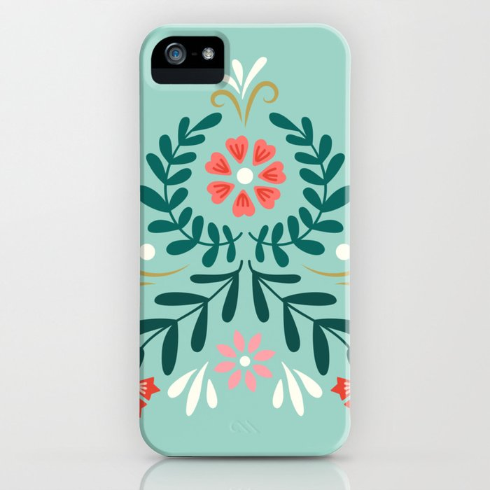 Floral Folk Pattern iPhone Case