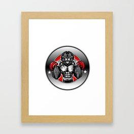 Illustration of a lion fighter Framed Art Print