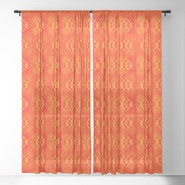 Striped orange hearts on a red background. Sheer Curtain