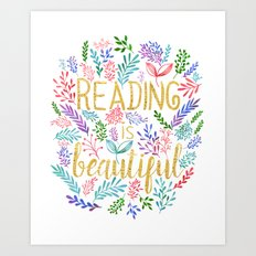 Reading is Beautiful - Gold Foil - White Art Print