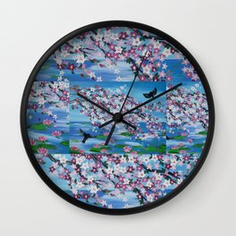 two bird design love romantic cherry blossom turquoise pink white flowers Wall Clock