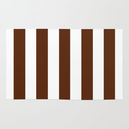 Seal brown - solid color - white vertical lines pattern Rug